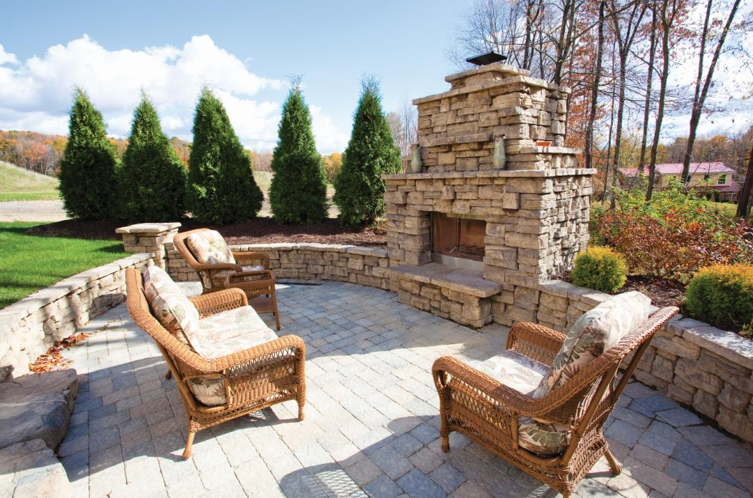 Outside Stone Fireplace Ideas: All Seasons Lawn Care